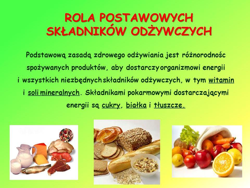 ROLA POSTAWOWYCH SKŁADNIKÓW ODŻYWCZYCH Podstawową zasadą zdrowego odżywiania jest różnorodnośc spożywanych produktów, aby dostarczy organizmowi energii i wszystkich niezbędnych składników odżywczych, w tym witamin i soli mineralnych.