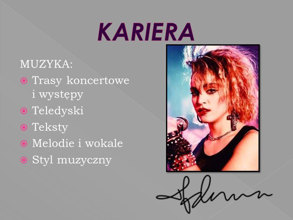 MUZYKA: Trasy koncertowe i występy Teledyski Teksty Melodie i wokale Styl muzyczny