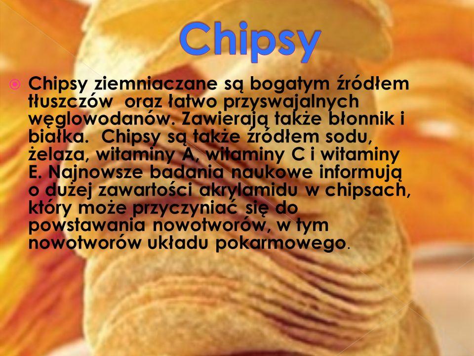Chipsy ziemniaczane są bogatym źródłem tłuszczów oraz łatwo przyswajalnych węglowodanów. Zawierają także błonnik i białka. Chipsy są także źródłem sod