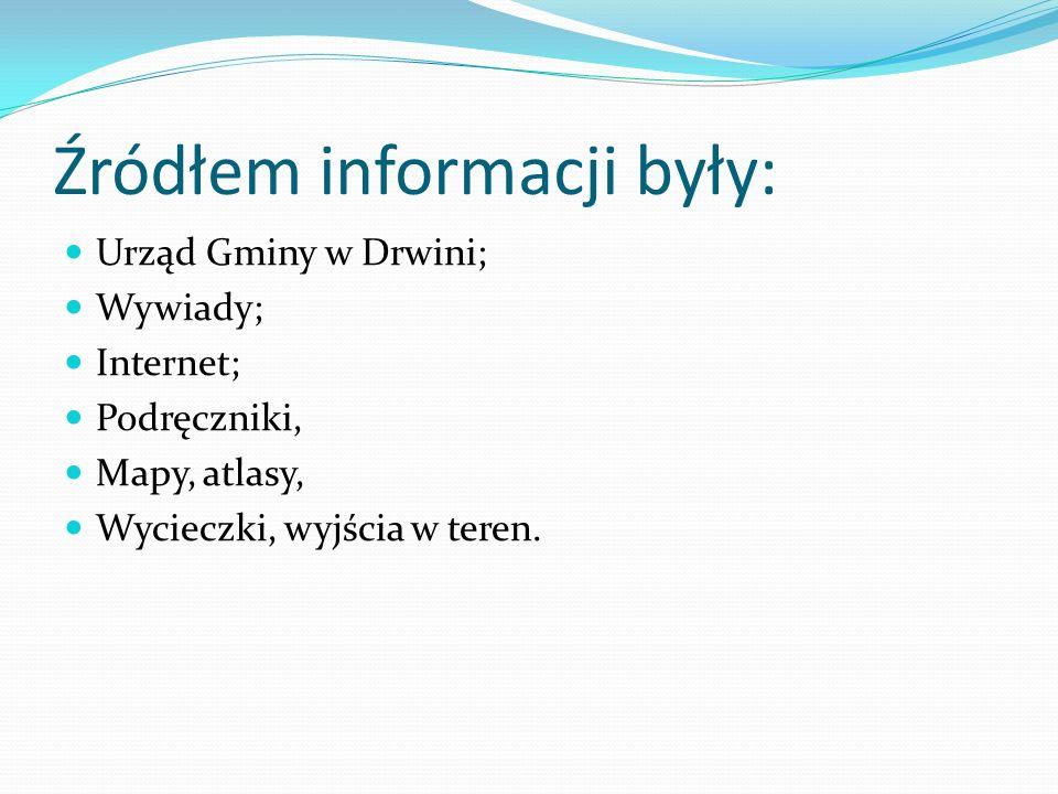 Źródłem informacji były: Urząd Gminy w Drwini; Wywiady; Internet; Podręczniki, Mapy, atlasy, Wycieczki, wyjścia w teren.