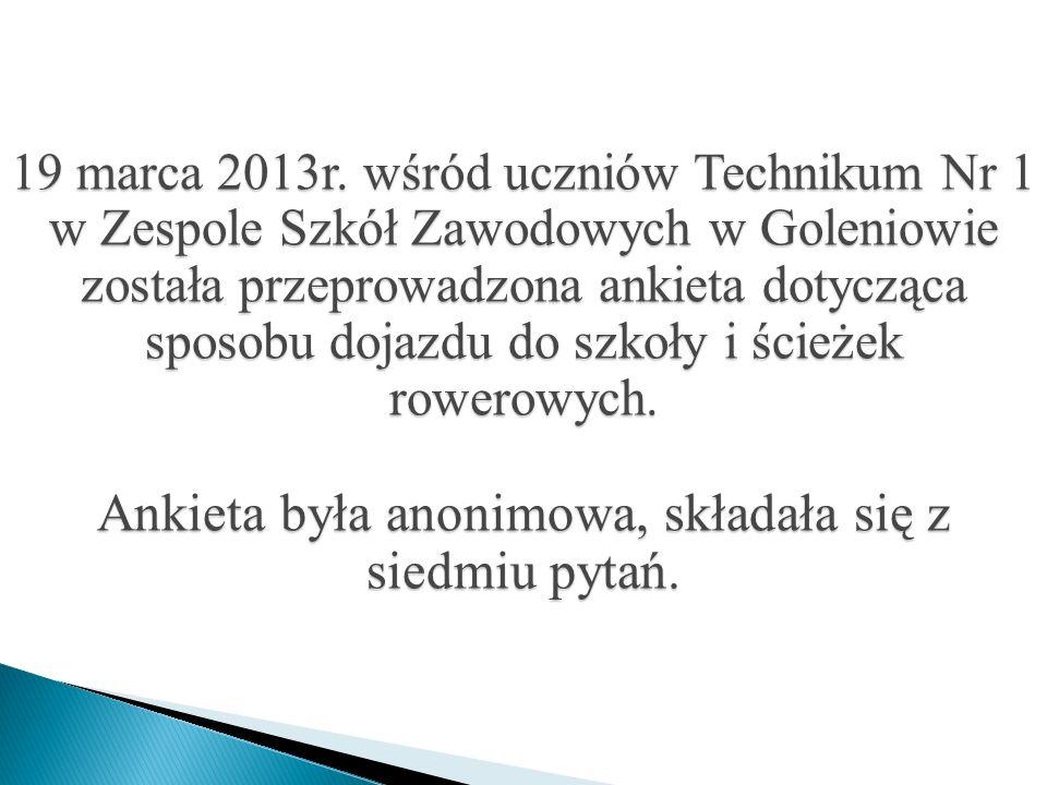19 marca 2013r. wśród uczniów Technikum Nr 1 w Zespole Szkół Zawodowych w Goleniowie została przeprowadzona ankieta dotycząca sposobu dojazdu do szkoł