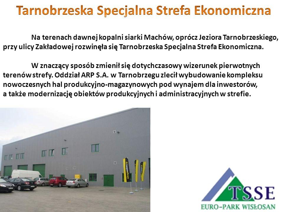 Na terenach dawnej kopalni siarki Machów, oprócz Jeziora Tarnobrzeskiego, przy ulicy Zakładowej rozwinęła się Tarnobrzeska Specjalna Strefa Ekonomiczn
