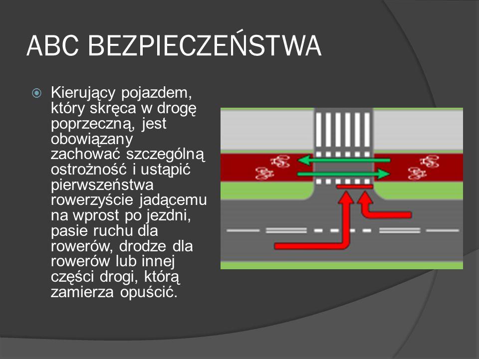 ABC BEZPIECZEŃSTWA Kierujący pojazdem, który skręca w drogę poprzeczną, jest obowiązany zachować szczególną ostrożność i ustąpić pierwszeństwa rowerzy