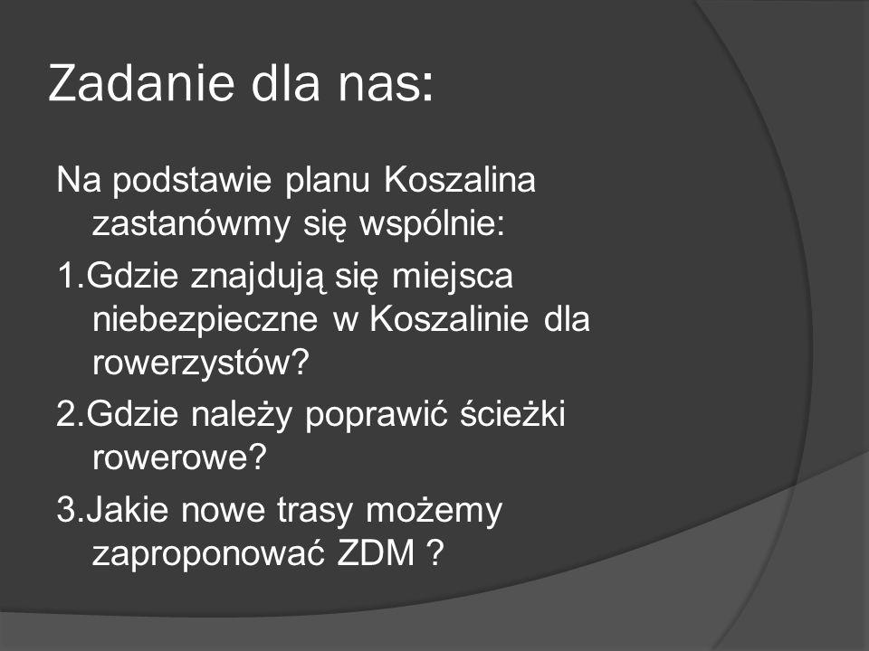Zadanie dla nas: Na podstawie planu Koszalina zastanówmy się wspólnie: 1.Gdzie znajdują się miejsca niebezpieczne w Koszalinie dla rowerzystów? 2.Gdzi