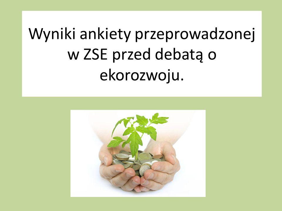 Wyniki ankiety przeprowadzonej w ZSE przed debatą o ekorozwoju.