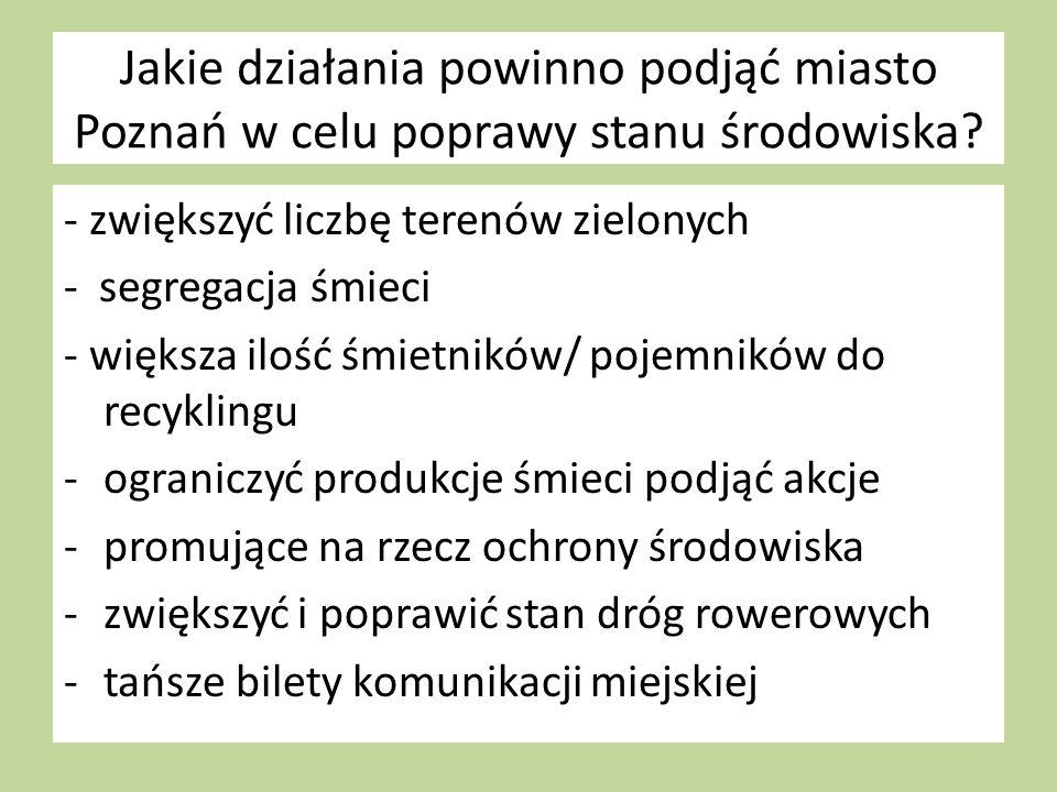 Jakie działania powinno podjąć miasto Poznań w celu poprawy stanu środowiska.
