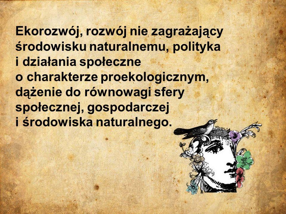 Ekorozwój, rozwój nie zagrażający środowisku naturalnemu, polityka i działania społeczne o charakterze proekologicznym, dążenie do równowagi sfery spo