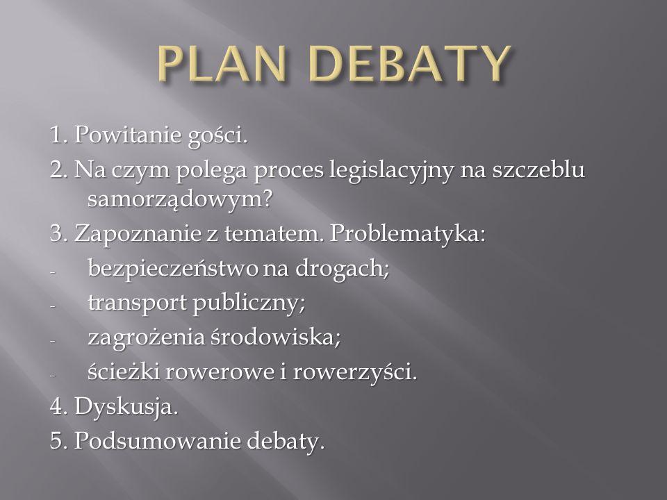1. Powitanie gości. 2. Na czym polega proces legislacyjny na szczeblu samorządowym.