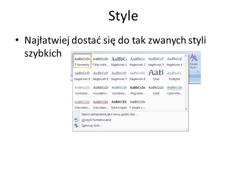Style Najłatwiej dostać się do tak zwanych styli szybkich