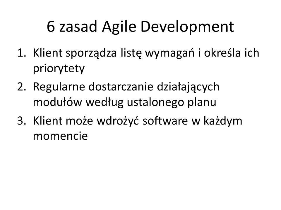 6 zasad Agile Development 1.Klient sporządza listę wymagań i określa ich priorytety 2.Regularne dostarczanie działających modułów według ustalonego pl