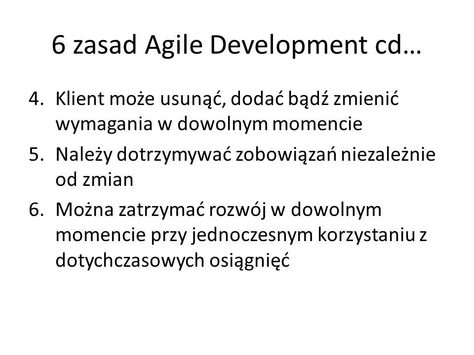 6 zasad Agile Development cd… 4.Klient może usunąć, dodać bądź zmienić wymagania w dowolnym momencie 5.Należy dotrzymywać zobowiązań niezależnie od zm