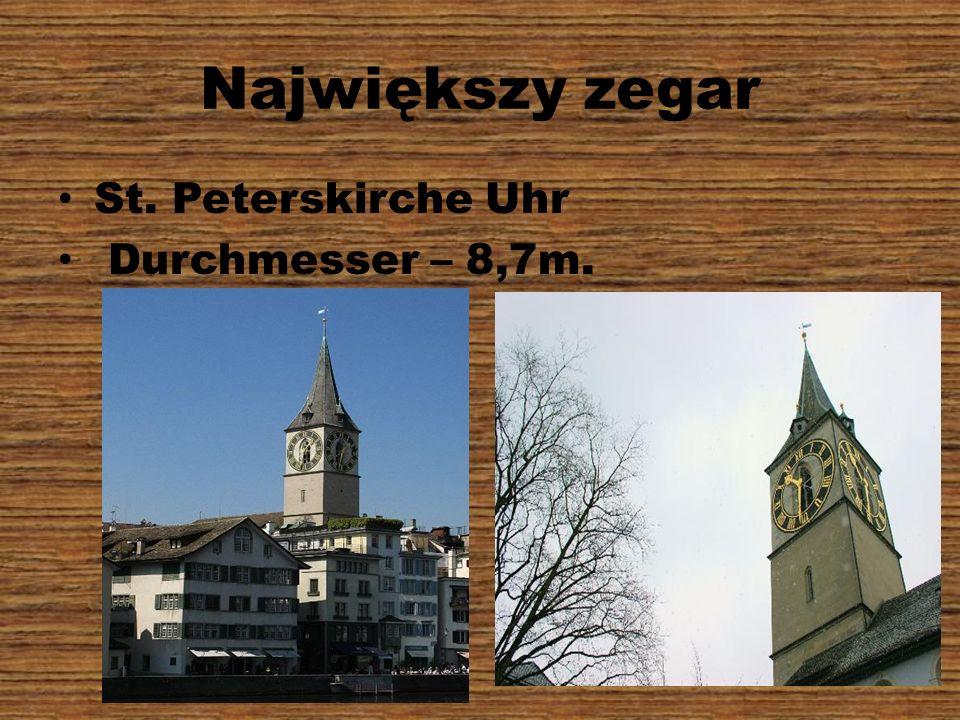 Największy zegar St. Peterskirche Uhr Durchmesser – 8,7m.