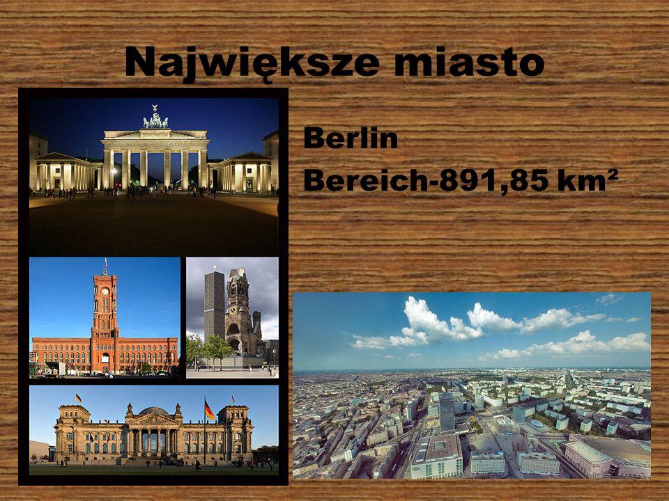 Największe miasto Berlin Bereich-891,85 km²