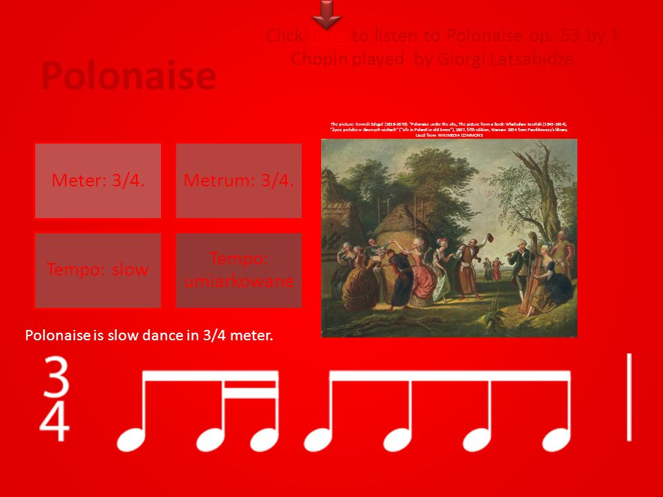 Polonaise Meter: 3/4.Metrum: 3/4. Tempo: slow Tempo: umiarkowane Click here to listen to Polonaise op. 53 by F. Chopin played by Giorgi Latsabidze.her