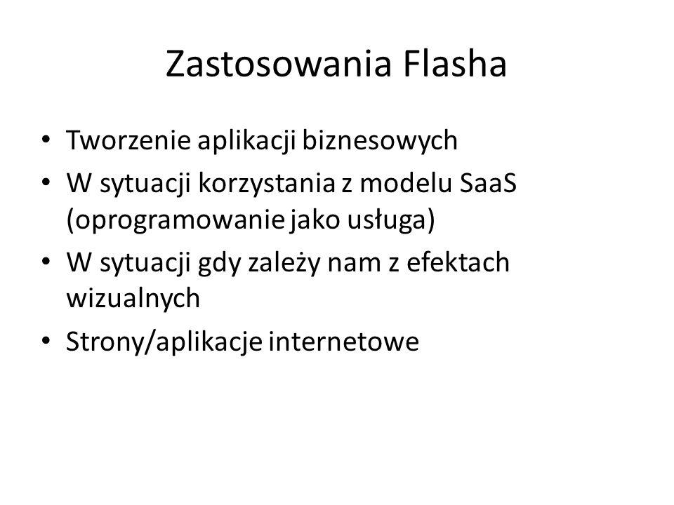 Zastosowania Flasha Tworzenie aplikacji biznesowych W sytuacji korzystania z modelu SaaS (oprogramowanie jako usługa) W sytuacji gdy zależy nam z efektach wizualnych Strony/aplikacje internetowe