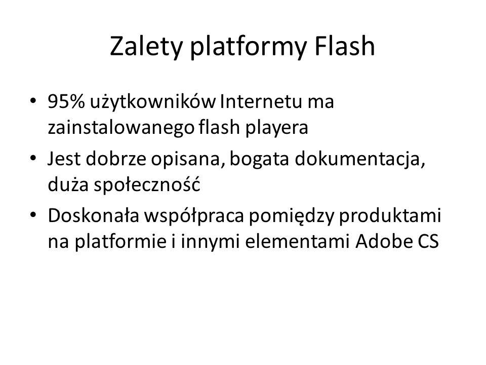 Zalety platformy Flash 95% użytkowników Internetu ma zainstalowanego flash playera Jest dobrze opisana, bogata dokumentacja, duża społeczność Doskonał