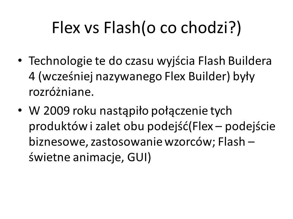 Flex vs Flash(o co chodzi?) Technologie te do czasu wyjścia Flash Buildera 4 (wcześniej nazywanego Flex Builder) były rozróżniane. W 2009 roku nastąpi