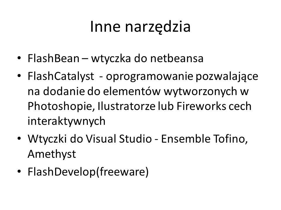 Inne narzędzia FlashBean – wtyczka do netbeansa FlashCatalyst - oprogramowanie pozwalające na dodanie do elementów wytworzonych w Photoshopie, Ilustratorze lub Fireworks cech interaktywnych Wtyczki do Visual Studio - Ensemble Tofino, Amethyst FlashDevelop(freeware)
