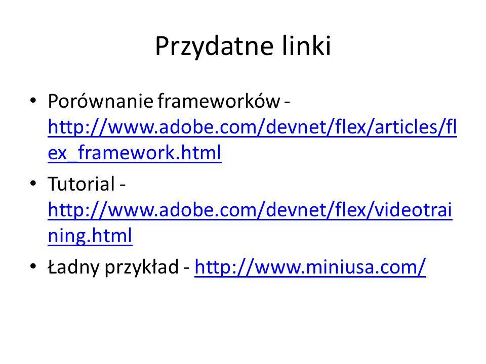 Przydatne linki Porównanie frameworków - http://www.adobe.com/devnet/flex/articles/fl ex_framework.html http://www.adobe.com/devnet/flex/articles/fl ex_framework.html Tutorial - http://www.adobe.com/devnet/flex/videotrai ning.html http://www.adobe.com/devnet/flex/videotrai ning.html Ładny przykład - http://www.miniusa.com/http://www.miniusa.com/