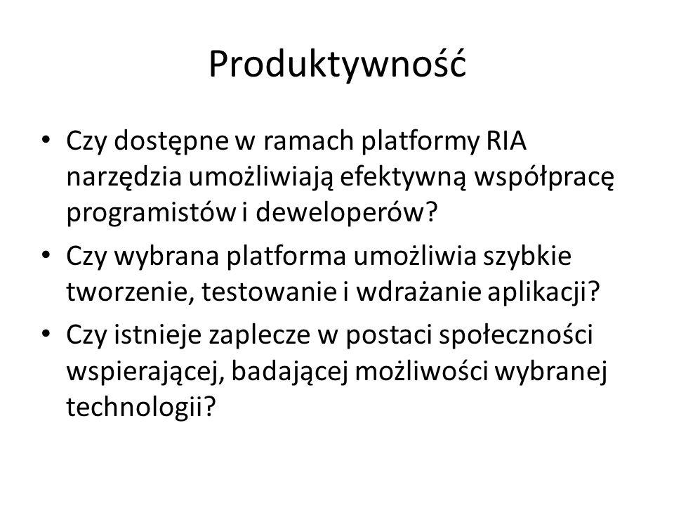 Produktywność Czy dostępne w ramach platformy RIA narzędzia umożliwiają efektywną współpracę programistów i deweloperów? Czy wybrana platforma umożliw