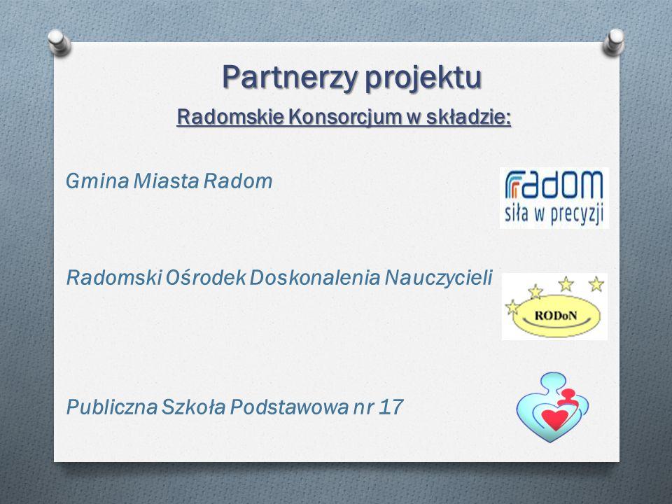 Partnerzy projektu Radomskie Konsorcjum w składzie: Gmina Miasta Radom Radomski Ośrodek Doskonalenia Nauczycieli Publiczna Szkoła Podstawowa nr 17