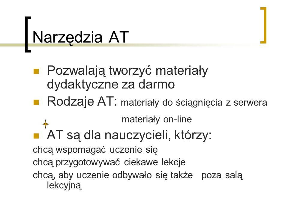 Narzędzia AT Pozwalają tworzyć materiały dydaktyczne za darmo Rodzaje AT: materiały do ściągnięcia z serwera materiały on-line AT są dla nauczycieli,