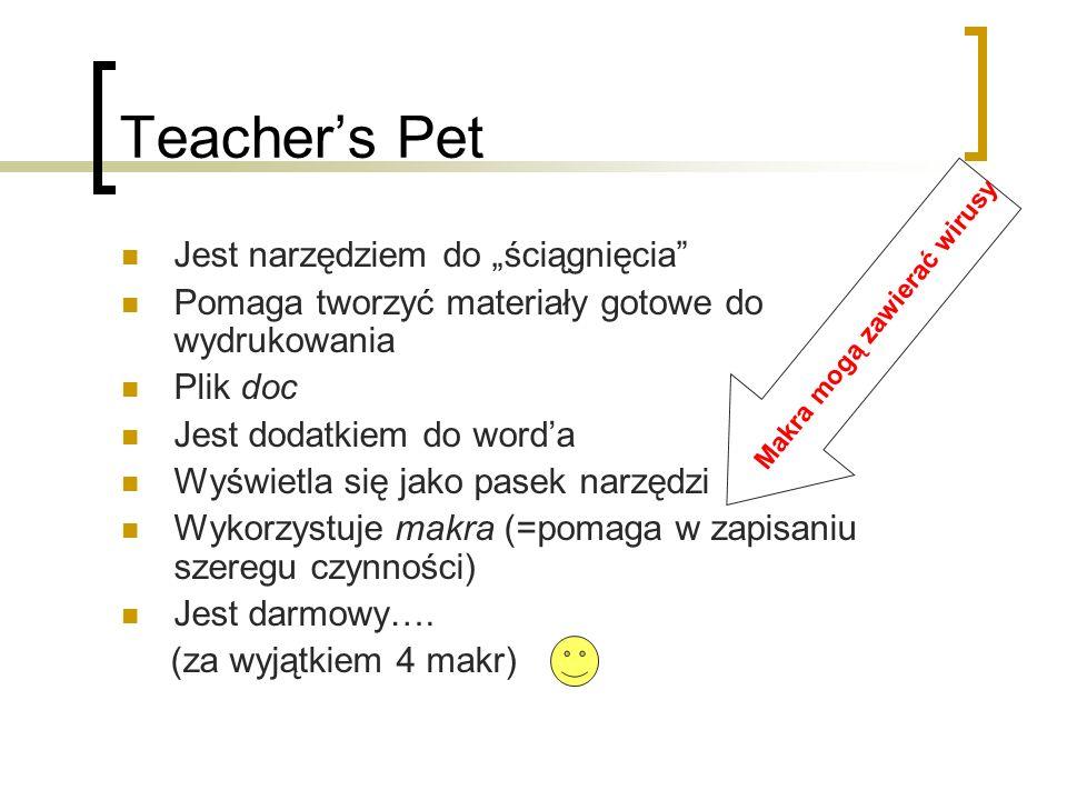 Teachers Pet Jest narzędziem do ściągnięcia Pomaga tworzyć materiały gotowe do wydrukowania Plik doc Jest dodatkiem do worda Wyświetla się jako pasek