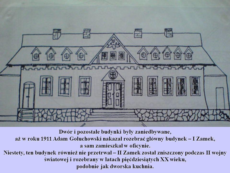 Dwór i pozostałe budynki były zaniedbywane, aż w roku 1911 Adam Gołuchowski nakazał rozebrać główny budynek – I Zamek, a sam zamieszkał w oficynie. Ni