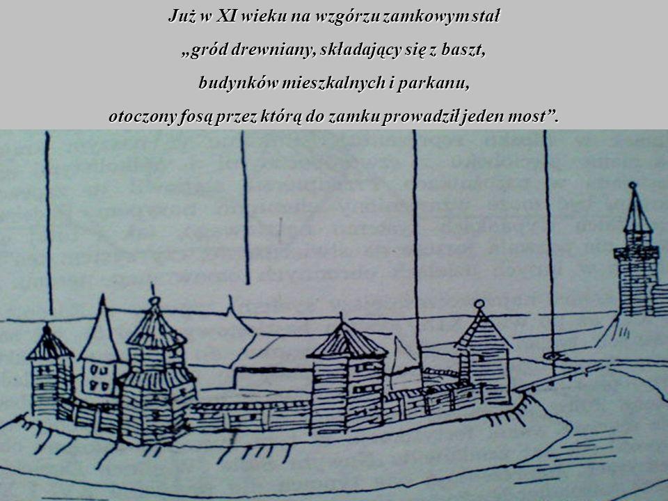 Już w XI wieku na wzgórzu zamkowym stał gród drewniany, składający się z baszt, budynków mieszkalnych i parkanu, otoczony fosą przez którą do zamku pr