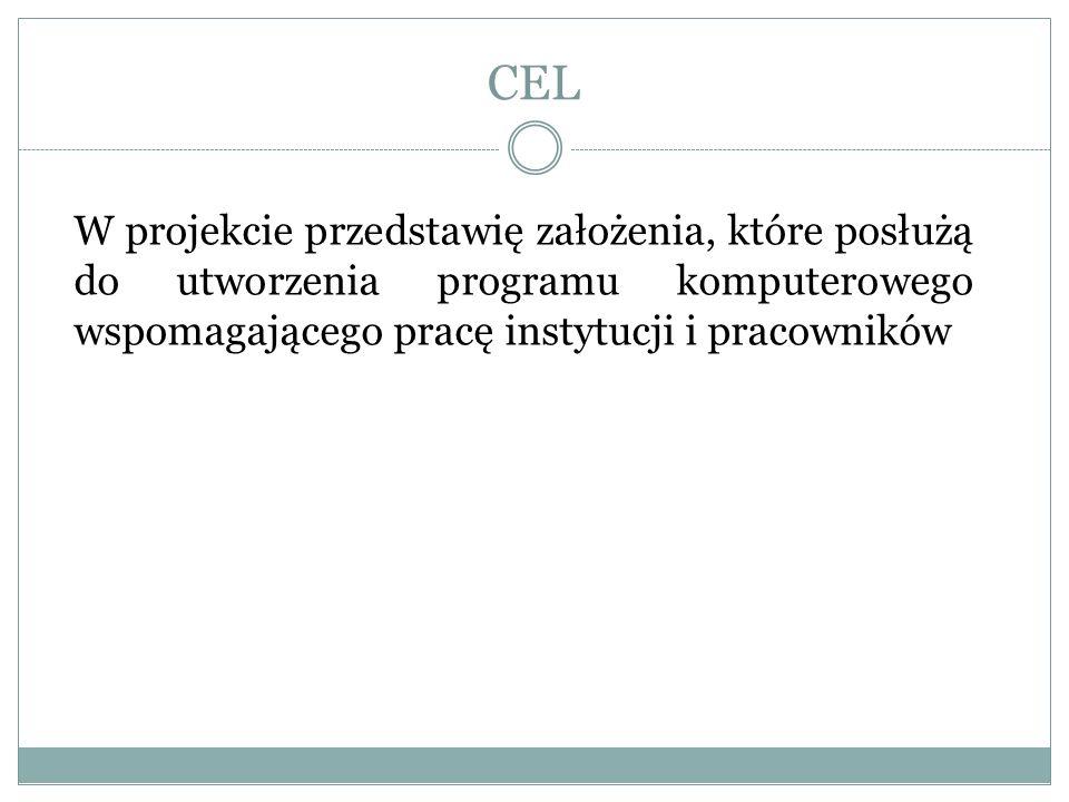 CEL W projekcie przedstawię założenia, które posłużą do utworzenia programu komputerowego wspomagającego pracę instytucji i pracowników