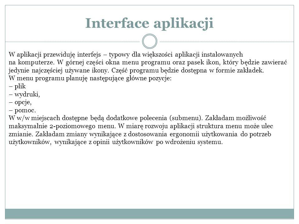 Interface aplikacji W aplikacji przewiduję interfejs – typowy dla większości aplikacji instalowanych na komputerze.