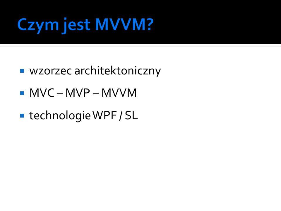 wzorzec architektoniczny MVC – MVP – MVVM technologie WPF / SL