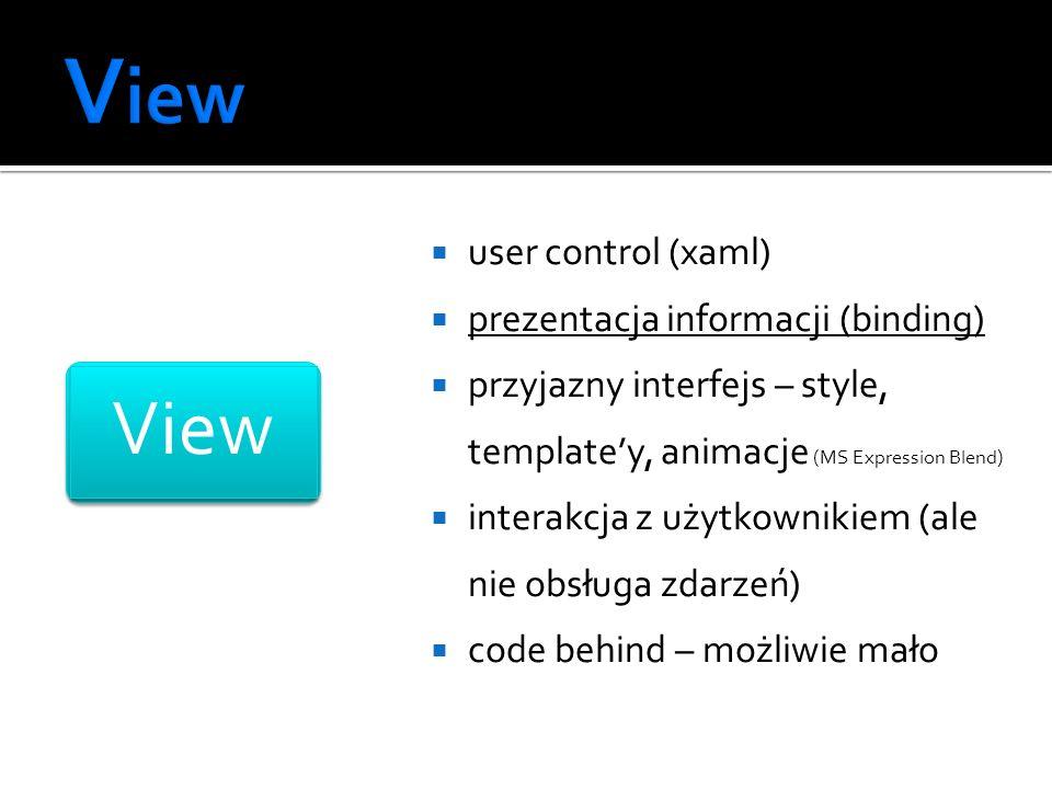 user control (xaml) prezentacja informacji (binding) przyjazny interfejs – style, templatey, animacje (MS Expression Blend) interakcja z użytkownikiem