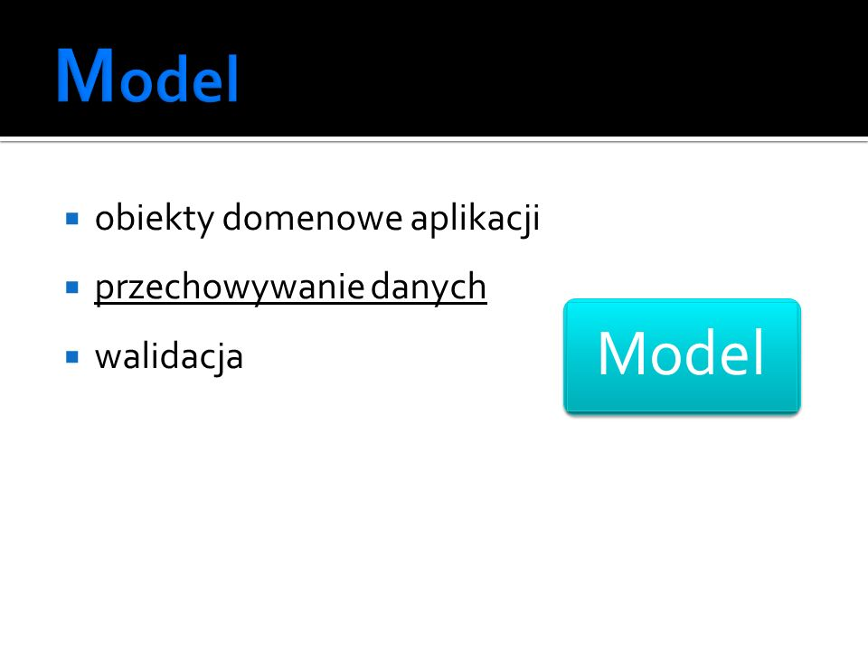 obiekty domenowe aplikacji przechowywanie danych walidacja Model