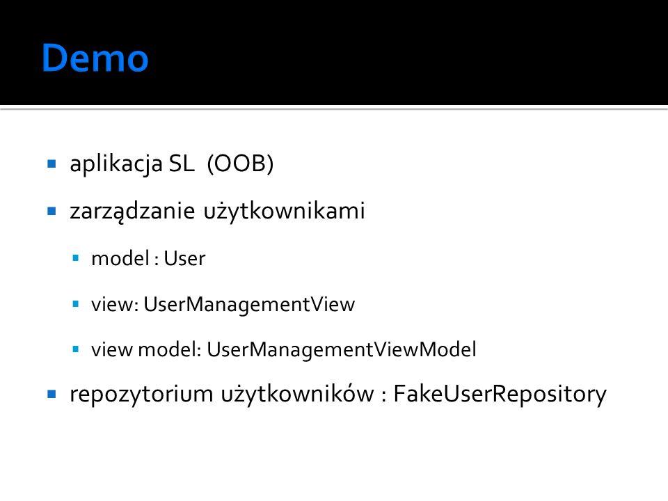 aplikacja SL (OOB) zarządzanie użytkownikami model : User view: UserManagementView view model: UserManagementViewModel repozytorium użytkowników : Fak