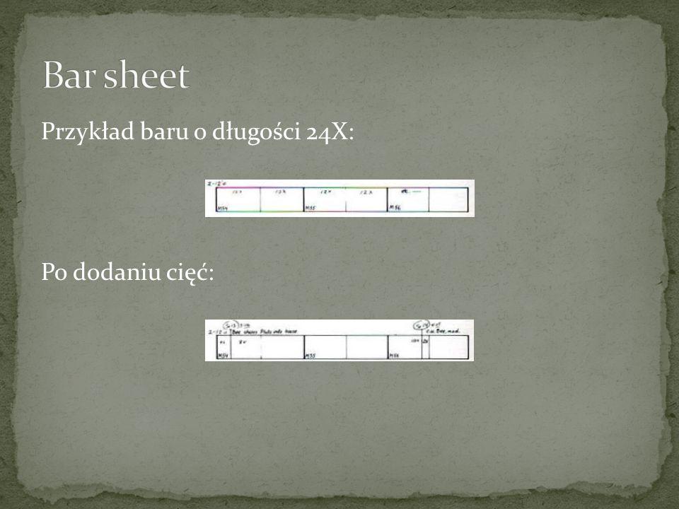 Przykład baru o długości 24X: Po dodaniu cięć: