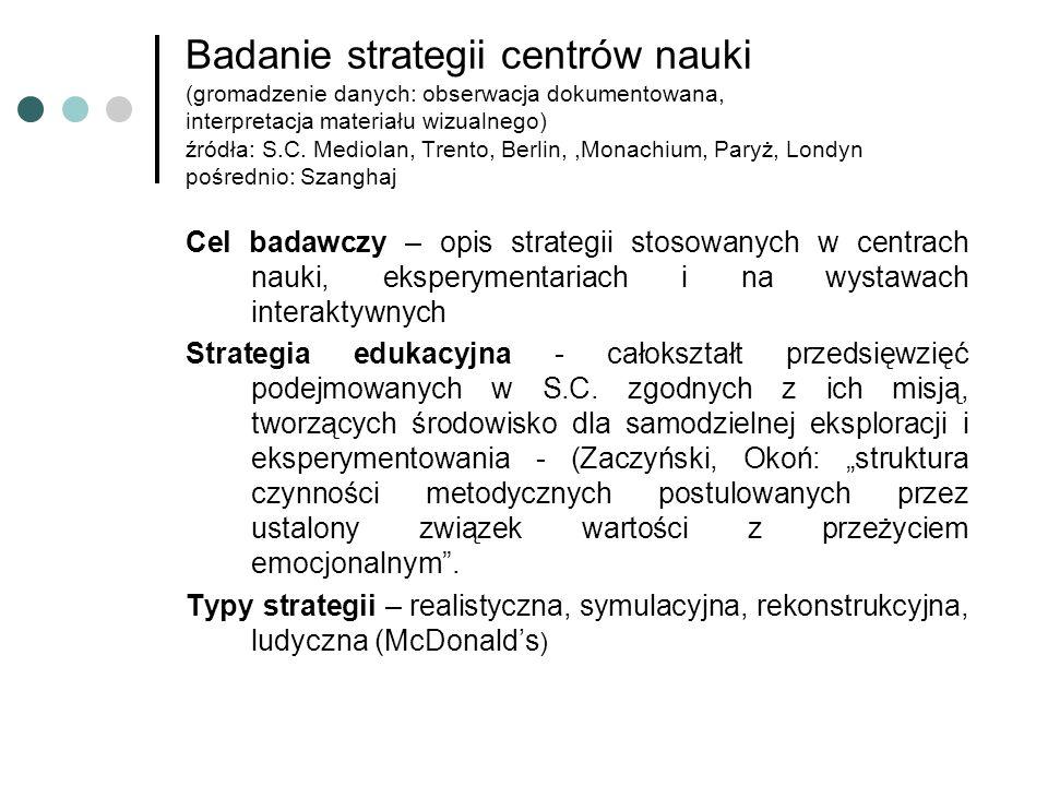 Badanie strategii centrów nauki (gromadzenie danych: obserwacja dokumentowana, interpretacja materiału wizualnego) źródła: S.C.