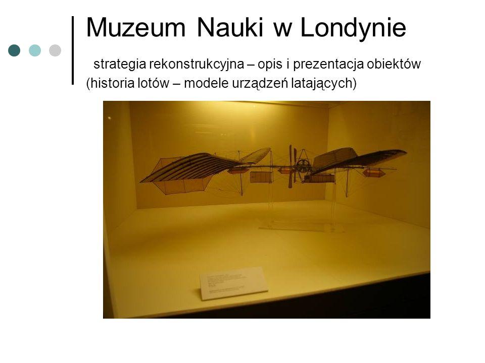 Muzeum Nauki w Londynie strategia rekonstrukcyjna – opis i prezentacja obiektów (historia lotów – modele urządzeń latających)