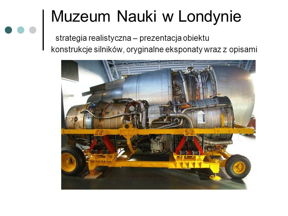 Muzeum Nauki w Londynie strategia realistyczna – prezentacja obiektu konstrukcje silników, oryginalne eksponaty wraz z opisami
