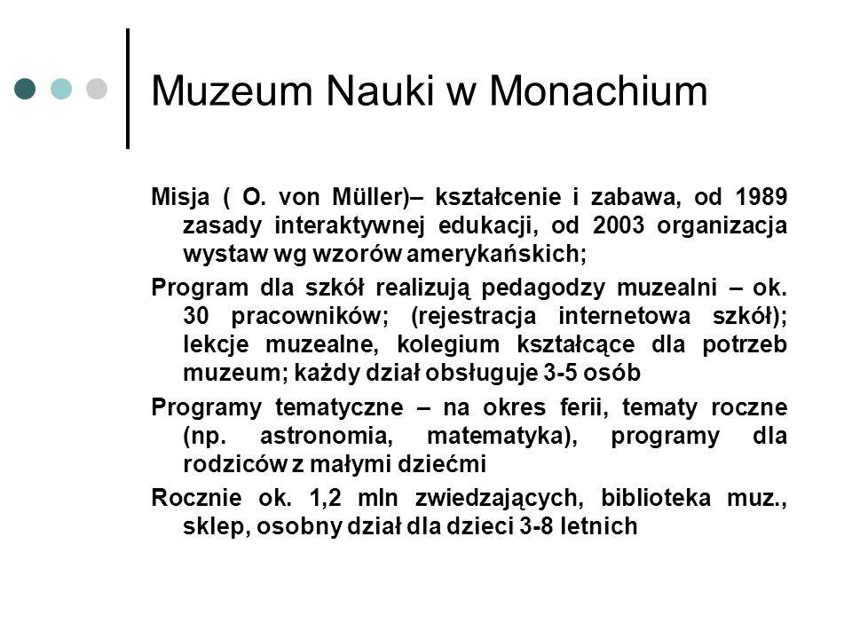 Misja ( O. von Müller)– kształcenie i zabawa, od 1989 zasady interaktywnej edukacji, od 2003 organizacja wystaw wg wzorów amerykańskich; Program dla s