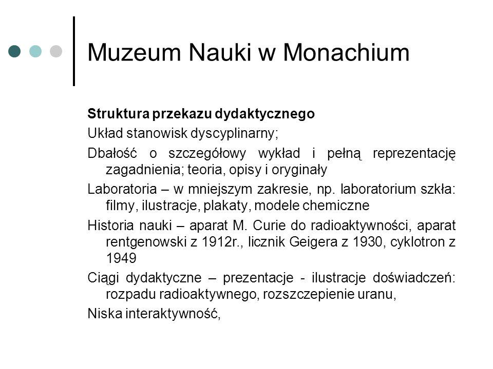 Muzeum Nauki w Monachium Struktura przekazu dydaktycznego Układ stanowisk dyscyplinarny; Dbałość o szczegółowy wykład i pełną reprezentację zagadnienia; teoria, opisy i oryginały Laboratoria – w mniejszym zakresie, np.