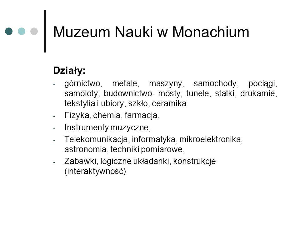 Muzeum Nauki w Monachium Działy: - górnictwo, metale, maszyny, samochody, pociągi, samoloty, budownictwo- mosty, tunele, statki, drukarnie, tekstylia