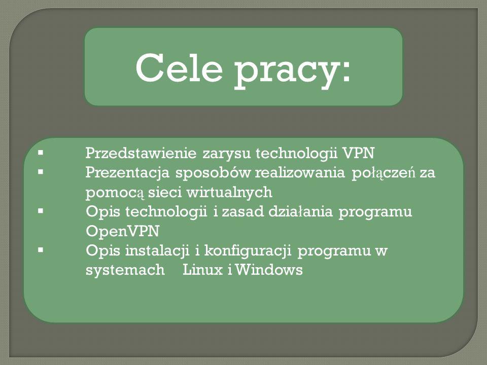 Przedstawienie zarysu technologii VPN Prezentacja sposobów realizowania po łą cze ń za pomoc ą sieci wirtualnych Opis technologii i zasad dzia ł ania programu OpenVPN Opis instalacji i konfiguracji programu w systemach Linux i Windows Cele pracy: