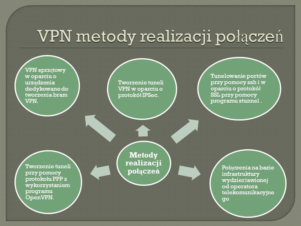 VPN- co to i po co to? VPN – virtual private network, to tunel łą cz ą cy pojedyncze komputery lub ca ł e sieci komputerowe. Tunel ten, zgodnie z nazw