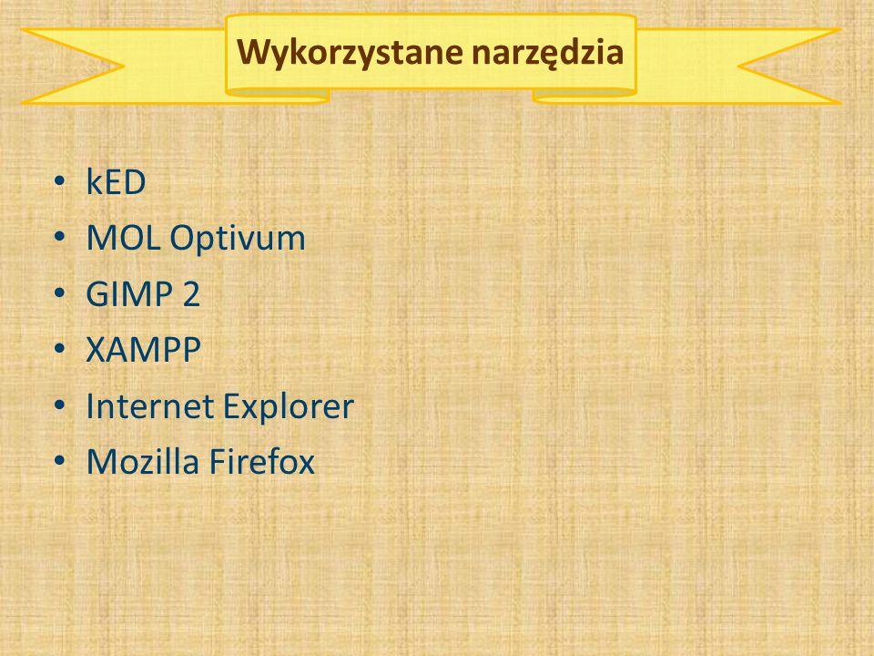 Wykorzystane narzędzia kED MOL Optivum GIMP 2 XAMPP Internet Explorer Mozilla Firefox