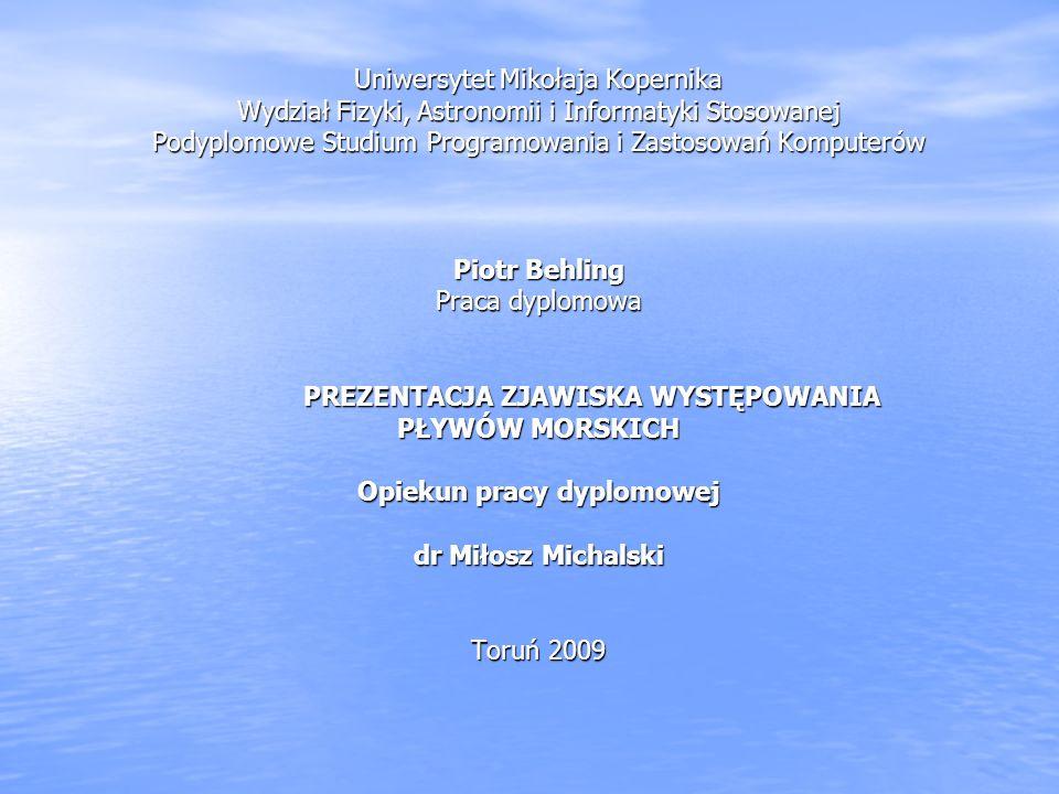 Uniwersytet Mikołaja Kopernika Wydział Fizyki, Astronomii i Informatyki Stosowanej Podyplomowe Studium Programowania i Zastosowań Komputerów Piotr Beh