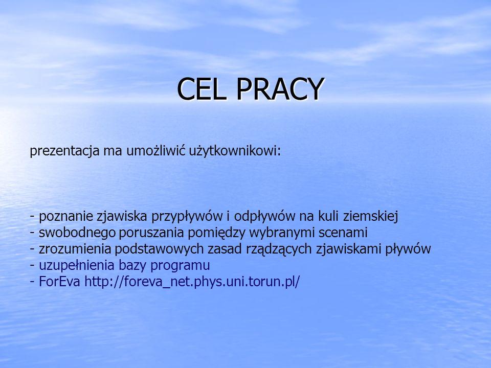 CEL PRACY CEL PRACY prezentacja ma umożliwić użytkownikowi: - poznanie zjawiska przypływów i odpływów na kuli ziemskiej - swobodnego poruszania pomięd