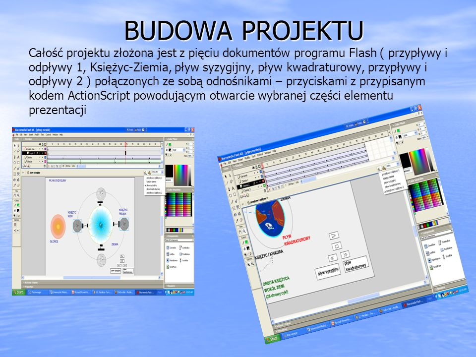 BUDOWA PROJEKTU BUDOWA PROJEKTU Całość projektu złożona jest z pięciu dokumentów programu Flash ( przypływy i odpływy 1, Księżyc-Ziemia, pływ syzygijn