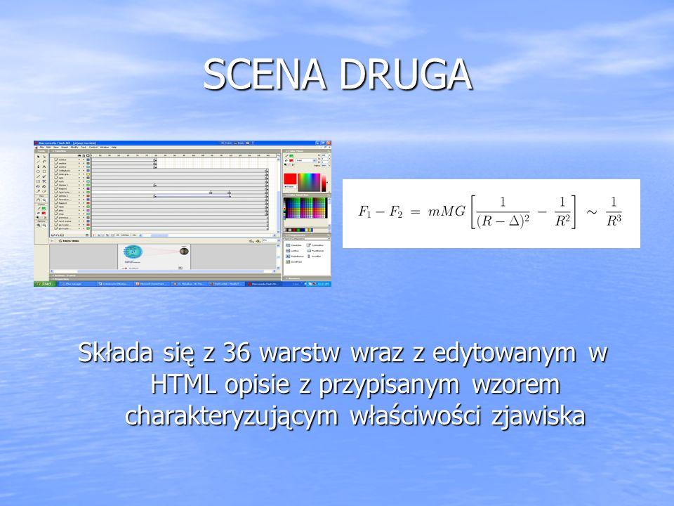SCENA DRUGA Składa się z 36 warstw wraz z edytowanym w HTML opisie z przypisanym wzorem charakteryzującym właściwości zjawiska