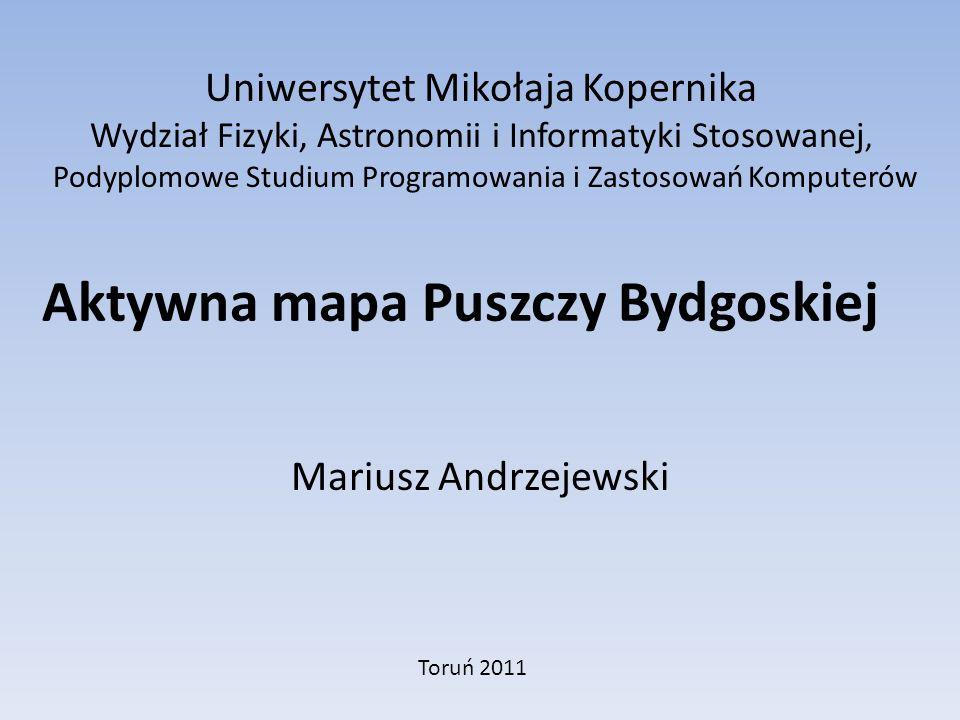 Celem pracy było przygotowanie aktywnej mapy części Puszczy Bydgoskiej na obszarze pomiędzy linią kolejową Inowrocław – Bydgoszcz, rzeczką Zielona w rejonie Cierpic Przy realizacji został wykorzystany program Macromedia Flash MX Wstępem do wykonania mapy było wykonanie zdjęć i zmiana ich parametrów (głównie rozmiaru) w programie corell.